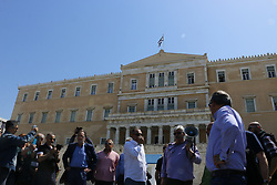 April 25, 2018 - Athens, Greece - Protester seen gathering in front of the Greek parliament. .Greek pensioners and employees of DEH ,(Public Power company) demonstrate in Athens against austerity measures and the sell off of power plants. (Credit Image: © Eleni Paroglou/SOPA Images via ZUMA Wire)