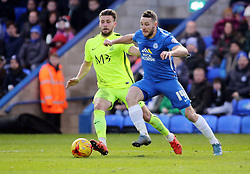 Conor Washington of Peterborough United in action with Southend United's Luke O'Neill - Mandatory byline: Joe Dent/JMP - 16/01/2016 - FOOTBALL - ABAX Stadium - Peterborough, England - Peterborough United v Southend United - Sky Bet League One