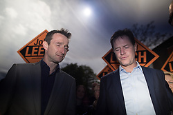 © Licensed to London News Pictures . 01/05/2015 . Manchester , UK . Nick Clegg and John Leech leave a Liberal Democrat party rally at Chorlton-cum-Hardy Golf Club . Liberal Democrat party leader Nick Clegg visits the constituency of Manchester Withington to deliver a speech on the NHS and campaign with local candidate John Leech . Photo credit : Joel Goodman/LNP