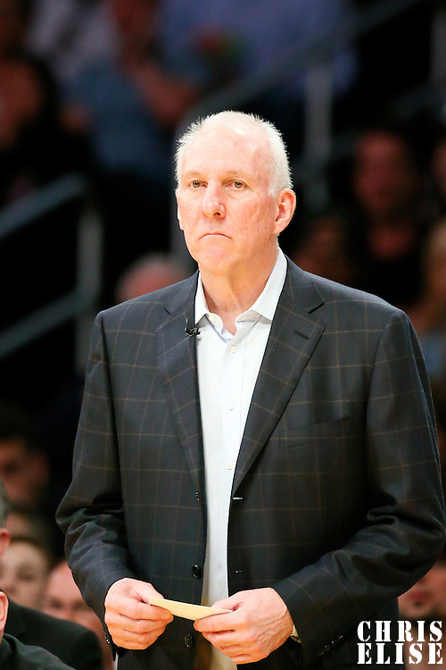19 March 2014: San Antonio Spurs head coach Gregg Popovich is seen during the San Antonio Spurs 125-109 victory over the Los Angeles Lakers at the Staples Center, Los Angeles, California, USA.