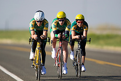 The Colorado State University team of Megan Cassidy, Tirrel Groventein, Carol Hutton, Rachel Knott, Julia Manley, and Amanda Miller competes in the women's division 1 race.  The 2008 USA Cycling Collegiate National Championships Team Time Trial event was held near Wellington, CO on May 9, 2008.  Teams of 3 or 4 riders raced over a 20km out and back course that ran along a service road to Interstate 25.