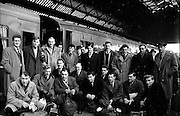 Irish Rugby Football Union, Ireland v Wales, Five Nations, Welsh Team arrives at Dublin Westland Row Pearse Train Station, Dublin, Ireland, Thursday 8th March, 1956,.8.3.1956, 3.8.1956, ..Welsh Team, ..G Owen, Wearing number 1 Welsh jersey, Full Back, Newport Rugby Football Club, Newport, Wales, and, Carnegie College Rugby Football Club, Leeds, England, ..C L Davies, Wearing number 5 Welsh jersey, Left Wing, Cardiff Rugby Football Club, Cardiff, Wales,..M C Thomas, Wearing number 4 Welsh jersey, Left Centre, Newport Rugby Football Club, Newport, Wales, ..H P Morgan, Wearing number 3 Welsh jersey, Right Centre, Newport Rugby Football Club, Newport, Wales,..K J Jones, Wearing number 2 Welsh jersey, Right Wing, Newport Rugby Football Club, Newport, Wales,..C I Morgan, Wearing number 6 Welsh jersey, Outside Half, Cardiff Rugby Football Club, Cardiff, Wales,..D O Brace, Wearing number 7 Welsh jersey, Forward, Newport Rugby Football Club, Newport, Wales, and, Oxford University Rugby Football Club, Oxford, England, ..C Meredith, Wearing number 8 Welsh jersey, Forward, Neath Rugby Football Club, Neath, Wales,..B Meredith, Wearing number 9 Welsh jersey, Forward, Newport Rugby Football Club, Newport, Wales,..W O Williams, Wearing number 10 Welsh jersey, Forward, Swansea Rugby Football Club, Swansea, Wales, ..R H Williams, Wearing number 11 Welsh jersey, Forward, Llanelly Rugby Football Club, Llanelly, Wales, ..J R G Stephens, Wearing number 12 Welsh jersey, Forward, Neath Rugby Football Club, Neath, Wales,..B Sparks, Wearing number 13 Welsh jersey, Forward, Neath Rugby Football Club, Neath, Wales, and, St Luke's College, Exeter, England,..L H Jenkins, Wearing number 14 Welsh jersey, Forward, Newport Rugby Football Club, Newport, Wales,..R C C Thomas, Wearing number 15 Welsh jersey, Forward, Swansea Rugby Football Club, Swansea, Wales, .... .
