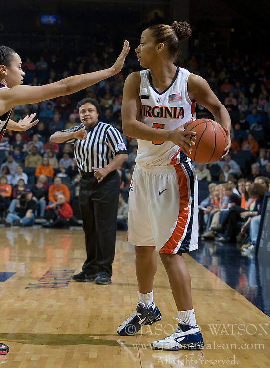 Virginia guard Sharnee Zoll (5) is guarded by Maryland guard Kristi Toliver (20).  The Virginia Cavaliers women's basketball team faced the #4 ranked Maryland Terrapins at the John Paul Jones Arena in Charlottesville, VA on January 18, 2008.