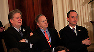 White House chief of staff Reince Priebus,Sean Spicer and  Steve Bannon talk before President Donald Trump announces his nomination federal appeals Judge Neil Gorsuch to the U.S. Supreme Court in the East Room of the White House on January 31, 2017<br /> <br /> Photo by Dennis Brack