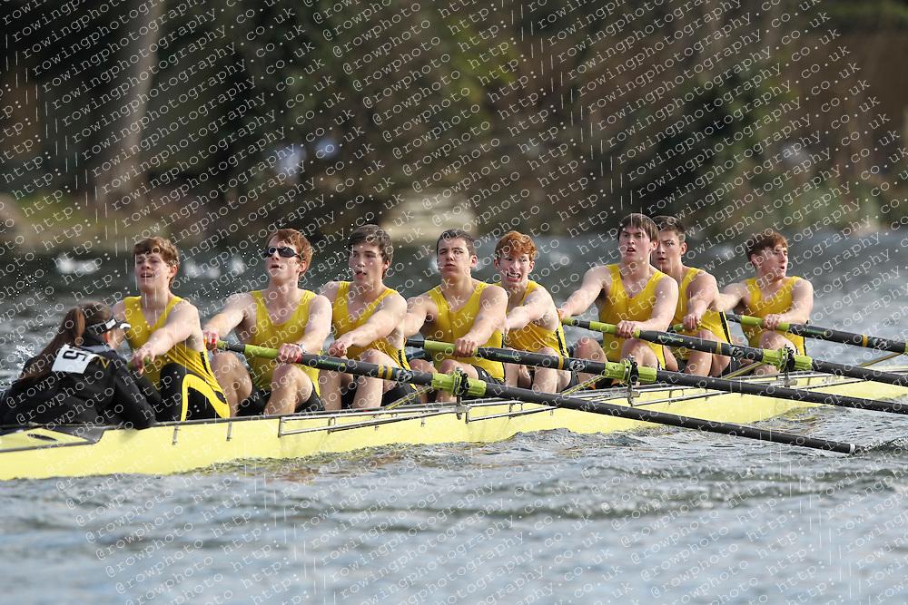 2012.02.25 Reading University Head 2012. The River Thames. Division 1. Hampton School Boat Club B J18A 8+