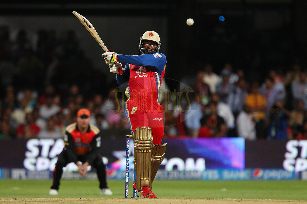 Chris Gayle of the Royal Challengers Bangalore hits out and is almost caught by Shikhar Dhawan captain of the Sunrisers Hyderabad during match 24 of the Pepsi Indian Premier League Season 2014 between the Royal Challengers Bangalore and the Sunrisers Hyderabad held at the M. Chinnaswamy Stadium, Bangalore, India on the 4th May  2014<br /> <br /> Photo by Ron Gaunt / IPL / SPORTZPICS<br /> <br /> <br /> <br /> Image use subject to terms and conditions which can be found here:  http://sportzpics.photoshelter.com/gallery/Pepsi-IPL-Image-terms-and-conditions/G00004VW1IVJ.gB0/C0000TScjhBM6ikg