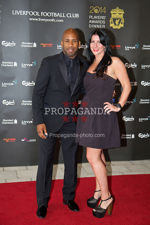 LIVERPOOL, ENGLAND - Tuesday, May 6, 2014: DJ Spoony and friend arrive on the red carpet for the Liverpool FC Players' Awards Dinner 2014 at the Liverpool Arena. (Pic by David Rawcliffe/Propaganda)