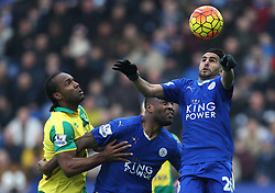 Cameron Jerome of Norwich City (L) in action against Wes Morgan (C) and Riyad Mahrez of Leicester City - Mandatory byline: Jack Phillips/JMP - 27/02/2016 - FOOTBALL - King Power Stadium - Leicester, England - Leicester City v Norwich - Barclays Premier League