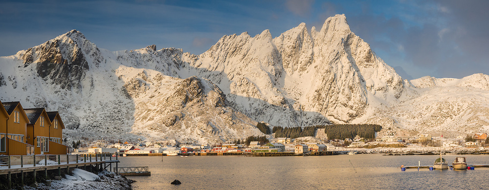 Looking acroos Ballstad harbor after a snow squal at sunrise.