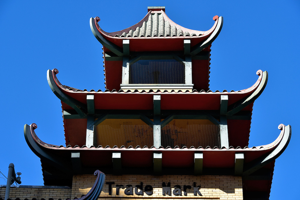 Chinatown&rsquo;s Trademark Pagoda Tower in San Francisco, California <br /> During the 1906 earthquake, approximately 14,000 Chinese immigrants were killed when Chinatown was destroyed.  The city tried to have them rebuild in a less desirable location but they refused, hired an architect and created buildings that appeared Chinese.  An example is this pagoda tower on the corner of Grant Avenue and California Street.  It was built in 1910 as the Sing Chong Bazaar but now is a food court.