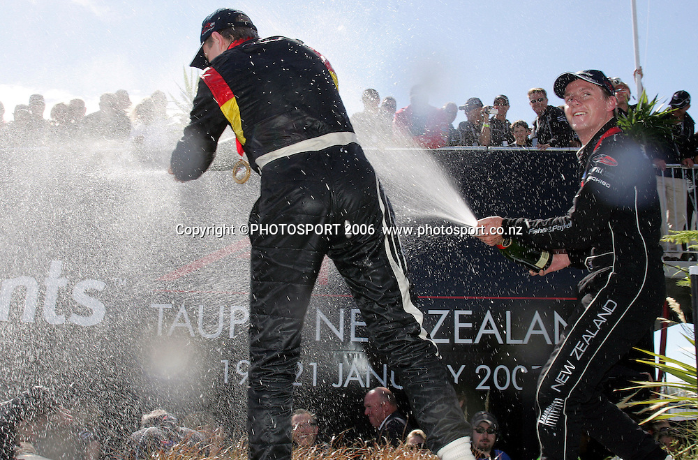 A1 Team Germany's Nico Hulkenberg celebrates his win in the Feature Race at the A1 GP in Taupo, New Zealand, on Sunday 21 January 2007. Germany were first, France Second and New Zealand third. Photo: Michael Bradley/PHOTOSPORT<br /> <br /> 210107 german