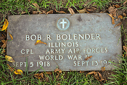 31 August 2017:   Veterans graves in Park Hill Cemetery in eastern McLean County.<br /> Bob R Bolender Illinois Corporal Army Air Forces World War II Sept 5 1918 Sept 13 1959