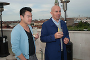 MIKE HSU; MARK HUGHES, Absolut Art Bureau cocktails and dinner to celebrate the announcement of the 2013 Absolut Art Award shortlist. Bauer Hotel, San Marco. Venice. Venice Bienalle. 28 May 2013