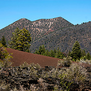 View of nearby cinder hills at Sunset Crater Volcano National Monument - AZ