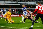 Brentford's Sergi Canos GOES CLOSE during the EFL Sky Bet Championship match between Queens Park Rangers and Brentford at the Loftus Road Stadium, London, England on 10 November 2018.