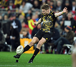 """Jordie Barrett of the Hurricanes kicks a conversion against the Lions in the International rugby match between the the Super Rugby Hurricanes and British and Irish Lions at Westpac Stadium, Wellington, New Zealand, Tuesday, June 27, 2017. Credit:SNPA / Ross Setford  **NO ARCHIVING"""""""