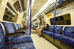 © Licensed to London News Pictures. 07/07/2018. LONDON, UK. As the nation watches the England v Sweden World Cup quarter-final on live on television, a normally busy Northern Line tube remains empty.  Photo credit: Stephen Chung/LNP