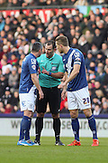 Birmingham City FC defender Paul Robinson and Birmingham City FC defender Michael Morrison talk to the ref during the Sky Bet Championship match between Derby County and Birmingham City at the iPro Stadium, Derby, England on 16 January 2016. Photo by Aaron Lupton.