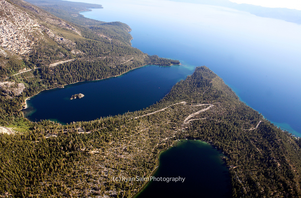 Aerial photograph of Tahoe from Emerald Bay