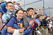 Supporters of FC Barcelona while arrived players of FC Barcelona  on Lech Walesa Airport in Gdansk, Poland.<br /> A few hours before friendly match between Lechia Gdansk and FC Barcelona.<br /> <br /> Poland, Gdansk, July 30, 2013<br /> <br /> Picture also available in RAW (NEF) or TIFF format on special request.<br /> <br /> For editorial use only. Any commercial or promotional use requires permission.<br /> <br /> Photo by &copy; Adam Nurkiewicz / Mediasport