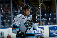 KELOWNA, CANADA - DECEMBER 2: Gilian Kohler #17 of the Kootenay Ice warms up against the Kelowna Rockets on December 2, 2017 at Prospera Place in Kelowna, British Columbia, Canada.  (Photo by Marissa Baecker/Shoot the Breeze)  *** Local Caption ***