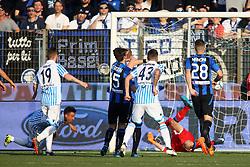 """Foto Filippo Rubin<br /> 07/04/2018 Ferrara (Italia)<br /> Sport Calcio<br /> Spal - Atalanta - Campionato di calcio Serie A 2017/2018 - Stadio """"Paolo Mazza""""<br /> Nella foto: GOAL SPAL THIAGO CIONEK  (SPAL)<br /> <br /> Photo by Filippo Rubin<br /> April 07, 2018 Ferrara (Italy)<br /> Sport Soccer<br /> Spal vs Atalanta - Italian Football Championship League A 2017/2018 - """"Paolo Mazza"""" Stadium <br /> In the pic: GOAL SPAL THIAGO CIONEK  (SPAL)"""