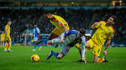 Tom Lawrence (Blackburn Wanderers) brought down just outside the box during the Sky Bet Championship match between Blackburn Rovers and Rotherham United at Ewood Park, Blackburn, England on 11 December 2015. Photo by Mark P Doherty.
