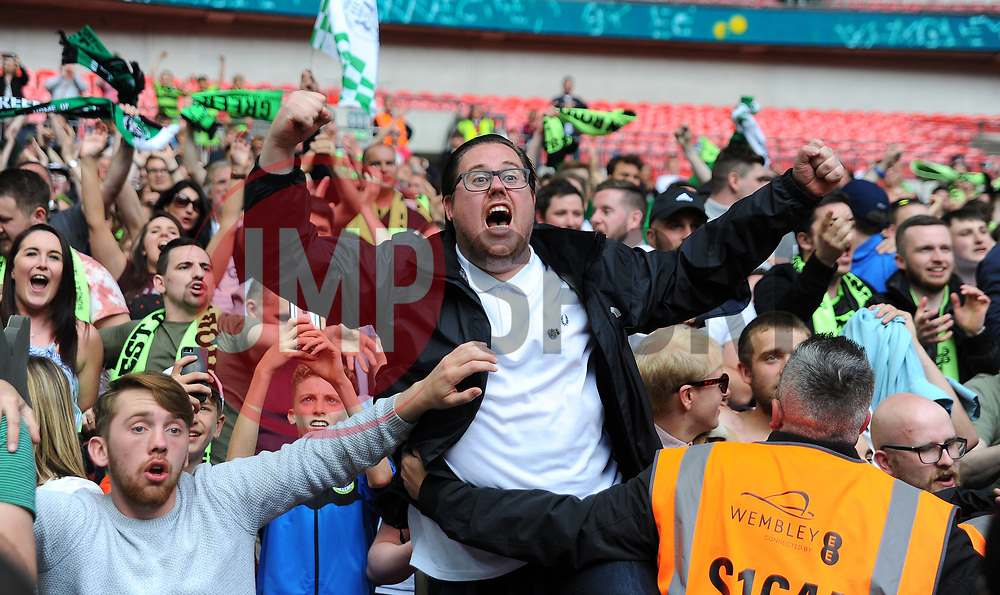 Forest Green Rovers fans celebrates at the full time whistle - Mandatory by-line: Nizaam Jones/JMP - 14/05/2017 - FOOTBALL - Wembley Stadium- London, England - Forest Green Rovers v Tranmere Rovers - Vanarama National League Final