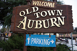 Welcome sign for Old Town Auburn, California, United States of America