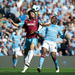01.05.2011, City of Manchester Stadium, Manchester, ENG, PL, Manchester City FC vs West Ham United FC, im Bild Manchester City's Mario Balotelli and West Ham United's James Tomkins during the Premiership match at the City of Manchester Stadium, EXPA Pictures © 2011, PhotoCredit: EXPA/ Propaganda/ D. Rawcliffe *** ATTENTION *** UK OUT!