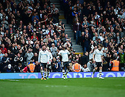 Fulham Forward Moussa Dembélé (25) celebrates Fulham's second goal during the Sky Bet Championship match between Fulham and Milton Keynes Dons at Craven Cottage, London, England on 2 April 2016. Photo by Jon Bromley.