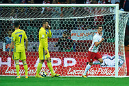 Warsaw, Poland - 2017 September 04: Arkadiusz Milik from Poland celebrates after scoring during soccer match Poland v Kazakhstan - FIFA 2018 World Cup Qualifier at PGE National Stadium on September 04, 2017 in Warsaw, Poland.<br /> <br /> Adam Nurkiewicz declares that he has no rights to the image of people at the photographs of his authorship.<br /> <br /> Picture also available in RAW (NEF) or TIFF format on special request.<br /> <br /> Any editorial, commercial or promotional use requires written permission from the author of image.<br /> <br /> Mandatory credit:<br /> Photo by © Adam Nurkiewicz / Mediasport