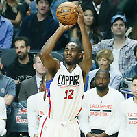 04 December 2016: LA Clippers forward Luc Mbah a Moute (12) takes a jump shot during the Indiana Pacers 111-102 victory over the LA Clippers, at the Staples Center, Los Angeles, California, USA.