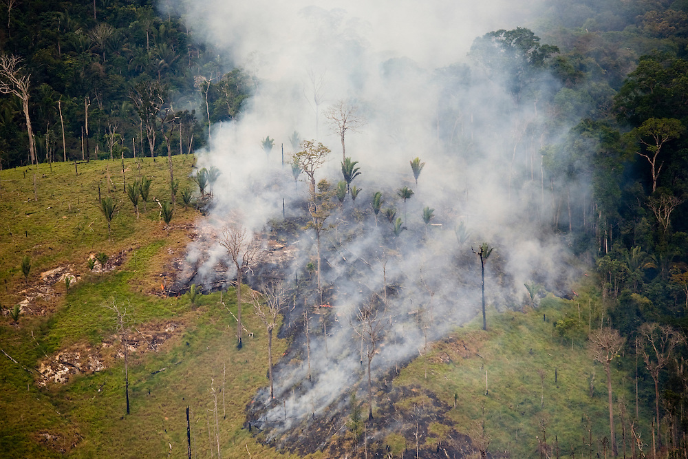 Fire clears cattle grazing land in the Trairao Municipality of Para State, Brazil, August 11, 2008..Daniel Beltra/Greenpeace