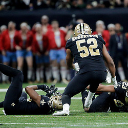 Dec 24, 2017; New Orleans, LA, USA; New Orleans Saints cornerback Marshon Lattimore (23) intercepts a pass that lands on his backside during the second quarter against the Atlanta Falcons at the Mercedes-Benz Superdome. Mandatory Credit: Derick E. Hingle-USA TODAY Sports