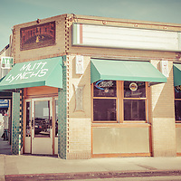 Vintage Picture of Mutt Lynch's Bar Newport Beach California. Mutt Lynch's is a popular bar on Balboa Peninsula in Orange County Southern California. Photo has a retro vintage 1970s tone.