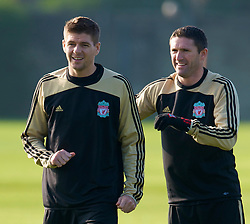 LIVERPOOL, ENGLAND - Monday, November 3, 2008: Liverpool's Steven Gerrard and Robbie Keane during training at Melwood ahead of the UEFA Champions League Group D match against Club Atletico de Madrid. (Photo by David Rawcliffe/Propaganda)