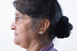 Portrait of an older woman in profile,