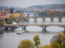 View of Bridges crossing Vltava River in Prague in Czech Republic