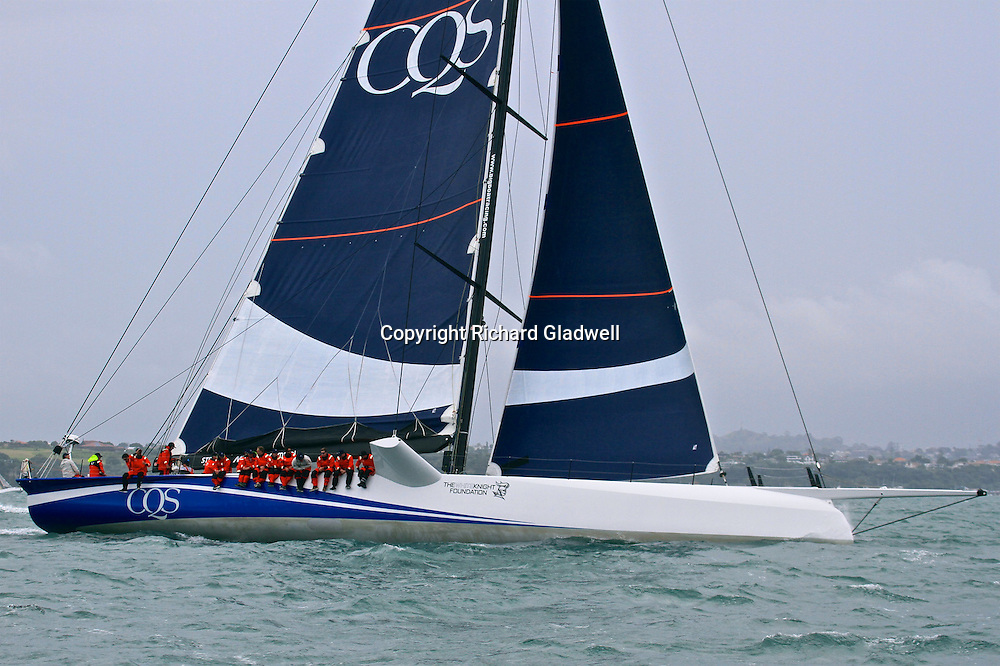 CQS supermaxi at the start of the Round White Island Yacht Race in Waitemata Harbour, Auckland.<br /> 25 November 2016.<br /> Copyright photo: Richard Gladwell / www.photosport.nz