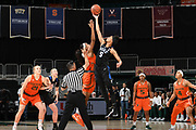 December 31, 2017: Leaonna Odom #5 of Duke jumps over Erykah Davenport #30 of Miami during the NCAA basketball game between the Miami Hurricanes and the Duke Blue Devils in Coral Gables, Florida. The 'Canes defeated the Blue Devils 51-48.