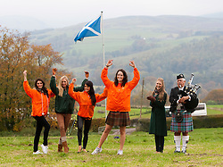 Miss Scotland Jennifer Reochs with Miss Northern Ireland Finola Frances Guinnane, Miss Northern Ireland Finola Frances Guinnane and Miss Wales Sara Jessica Manchipp and the current Miss world Alexanrda Mills, and pipe major Danny Boyle..The Miss World 2011 contestants take part in Highland Games in the grounds of Crieff Hydro, Perthshire..MISS WORLD 2011 VISITS SCOTLAND..Pic © Michael Schofield.