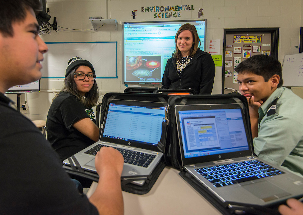Teachers and students use the HUB in class at Chavez High School, January 26, 2015.