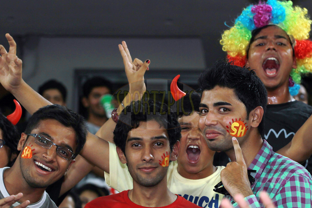 Crowd enjoying the atmosphere during match 7 of the Pepsi Indian Premier League between The Sunrisers Hyderabad and Royal Challengers Bangalore held at the Rajiv Gandhi International  Stadium, Hyderabad  on the 7th April 2013. Photo by Jacques Rossouw - SPORTZPICS - IPL    ..Use of this image is subject to the terms and conditions as outlined by the BCCI. These terms can be found by following this link:..http://www.sportzpics.co.za/image/I0000SoRagM2cIEc