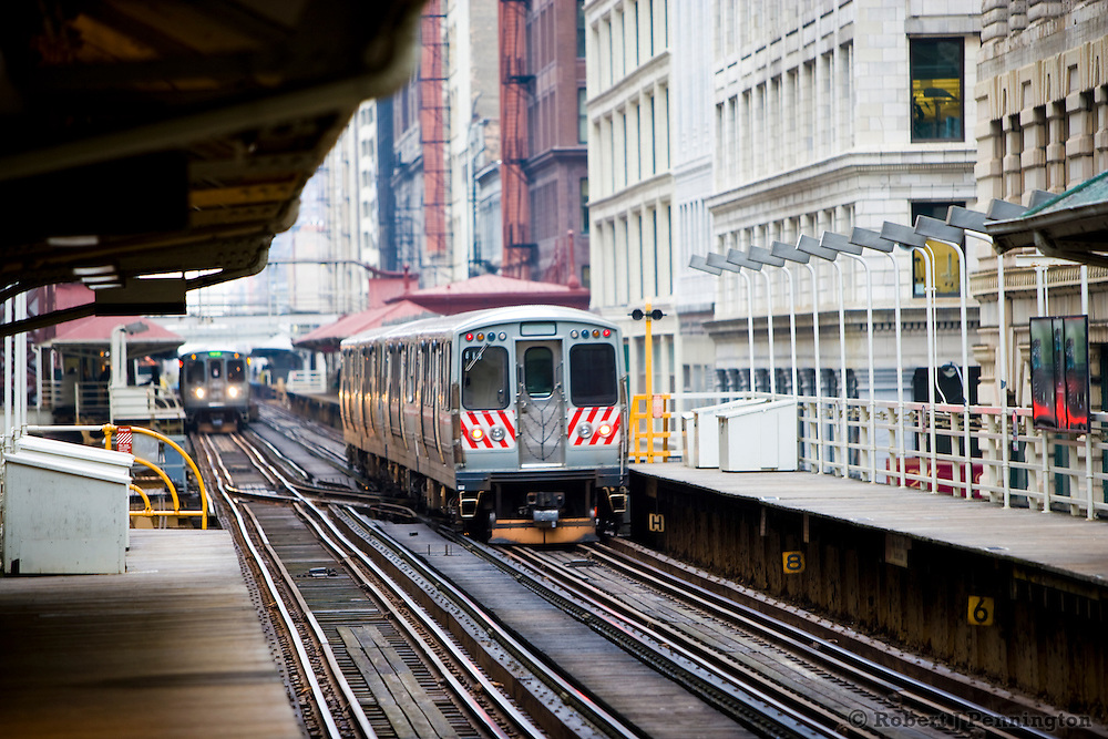 Elevated trains run along the Loop in Chicago, Illinois.