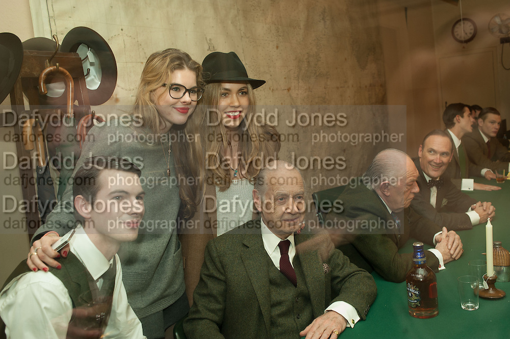 CHARLES HAMBRO; TATIANA HAMBRO; TILLY STANDING; JOHN STANDING; SIR MICHAEL GAMBON; A.A.GILL, The English Gentleman at the  The Cabinet War Rooms, supported by Chivas deluxe blended Scotch whisky. Whitehall. London. 7 January 2013.