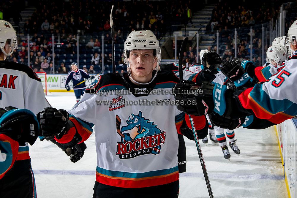 KELOWNA, BC - FEBRUARY 12: Conner McDonald #7 of the Kelowna Rockets celebrates a goal against the Tri-City Americans at Prospera Place on February 8, 2020 in Kelowna, Canada. (Photo by Marissa Baecker/Shoot the Breeze)