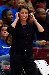 December 15, 2009; Stanford, CA, USA;  Duke Blue Devils head coach Joanne McCallie during the first half against the Stanford Cardinal at Maples Pavilion.