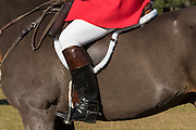 Detail of the Huntsman's boots during the start of the Fox Hunting season at Middleton Place Plantation November 27, 2016 in Charleston, SC. Fox hunting in Charleston is a drag hunt using a scented cloth to simulate a fox and no animals are injured.