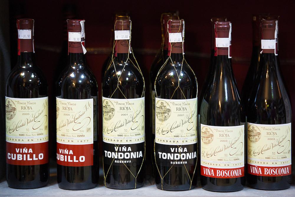 Rioja red wines Vina Cubillo, Vina Tondonia and Vina Bosconia on display in Pepita Uva shop in Laguardia, Rioja-Alavesa, Spain